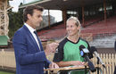 Adam Gilchrist talks to Melbourne Stars' Meg Lanning, Sydney, June 7, 2016
