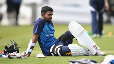 Lahiru Thirimanne waits for his turn in the nets