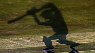 Shadow practice: a batsman during England's nets session