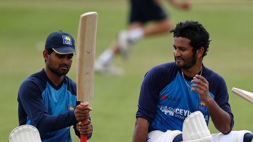 Kaushal Silva and Dimuth Karunaratne in the nets at Lord's