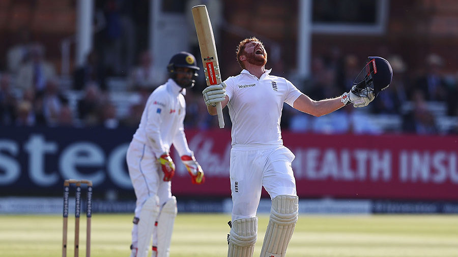 Jonny Bairstow screams with delight after scoring a Test hundred at Lord's