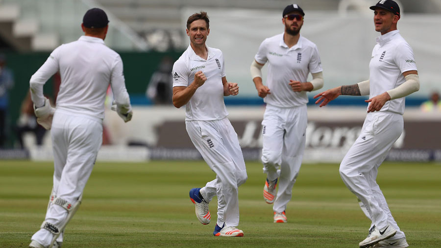 Chris Woakes got his second of the day when Angelo Mathews was caught at slip