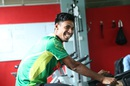 Mustafizur Rahman goes through his drills at  Mirpur's National Cricket Academy gym, Mirpur, June 11, 2016