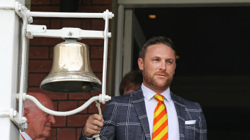 Brendon McCullum rings the five-minute bell at Lord's