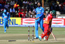 Barinder Sran bowled Sikandar Raza off the inside edge, Zimbabwe v India, 1st ODI, Harare, June 11, 2016