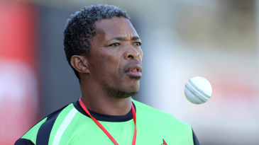 Makhaya Ntini watches the first ODI from the sidelines