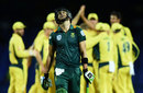 Faf du Plessis walks back after his dismissal, Australia v South Africa, 4th match, ODI tri-series, St Kitts