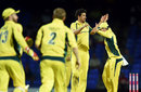 Mitchell Starc celebrates a wicket with Steven Smith, Australia v South Africa, 4th match, ODI tri-series, St Kitts