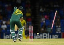 Kyle Abbott is bowled by Mitchell Starc, Australia v South Africa, 4th match, ODI tri-series, St Kitts