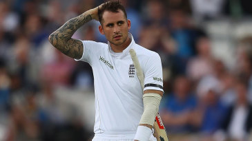 Alex Hales referred unsuccessfully after being given out on 94