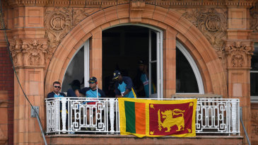 A Sri Lanka flag was hung from the balcony of the visiting dressing room