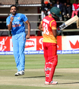 Dhawal Kulkarni is elated after dismissing Chamu Chibhabha for 21, Zimbabwe v India, 2nd ODI, Harare, June 13, 2016