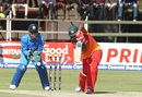 Vusi Sibanda plays a straight drive, Zimbabwe v India, Harare, June 15, 2016