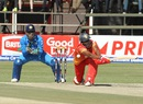 Vusi Sibanda attempts a sweep, Zimbabwe v India, Harare, June 15, 2016