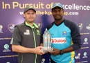 William Porterfield and Angelo Mathews pose with the series trophy, Dublin, June 15, 2016