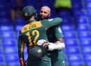 Quinton de Kock embraces Hashim Amla, West Indies v South Africa, 6th match, ODI tri-series, St Kitts