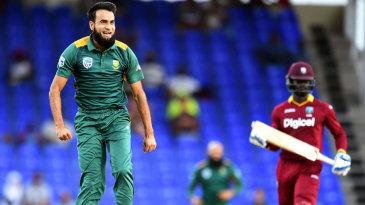 Imran Tahir exults after removing Andre Fletcher