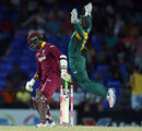 Quinton de Kock takes the catch to dismiss Marlon Samuels, West Indies v South Africa, 6th match, ODI tri-series, St Kitts
