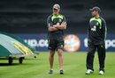 Ireland coach John Bracewell and captain William Porterfield inspect conditions before play, Ireland v Sri Lanka, 1st ODI, Malahide, June 16, 2016
