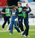 Debutant Barry McCarthy is elated after dismissing Danushka Gunathilaka for 9, Ireland v Sri Lanka, 1st ODI, Malahide, June 16, 2016