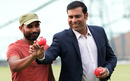Mohammed Shami and VVS Laxman pose for the cameras before a pink-ball event, Kolkata, June 16, 2016