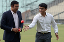 VVS Laxman and Sourav Ganguly gesture at an event for pink-ball cricket, Kolkata, June 16, 2016