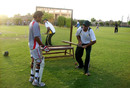 Ijaz Ahmed jnr, Moddershall's pro, passes on some batting tips to a young batsman