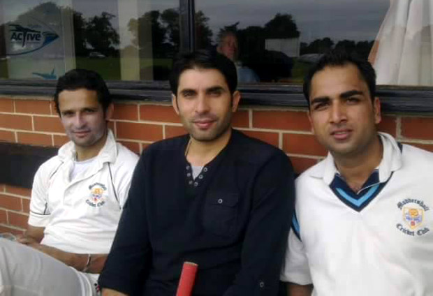 Misbah-ul-Haq showed up a Moddershall match in which his team-mate from Pakistan domestic cricket Asad Ali (left) was playing