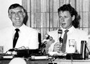 Kim Hughes and Geoff Dakin at a press conference to launch Australia's rebel tour of South Africa, Johannesburg, 1985