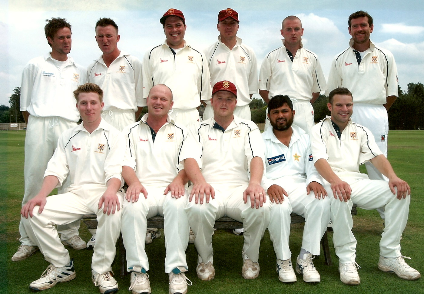 Mushtaq Ahmed (front row, second from right) with the Little Stoke 1st XI that won the North Staffordshire & South Cheshire League in 2002