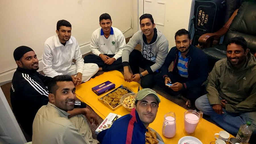 Food fit for pros: from front (clockwise): Jalat Khan, Asif Raza, Nayyer Abbas, Sadaf Hussain, Nasir Malik, Usman Salahuddin, Bilawal Bhatti and Khalid Malik sit down for a meal