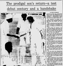 The <i>Age</i> reports Gary Cosier's century on Test debut, Australia v West Indies, 3rd Test, Melbourne, 3rd day, December 28, 1975