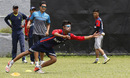 Sandeep Lamichhane dives during a fielding drill, Kathmandu, June 12, 2016