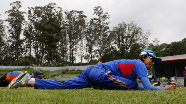 Shakti Gauchan limbers up at a Nepal training camp