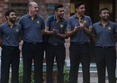 Pakistan players and coach Mickey Arthur line up for photographs ahead of the team's departure for England, Lahore, June 18, 2016
