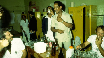 Garry Sobers and the Australians have drinks in the dressing room