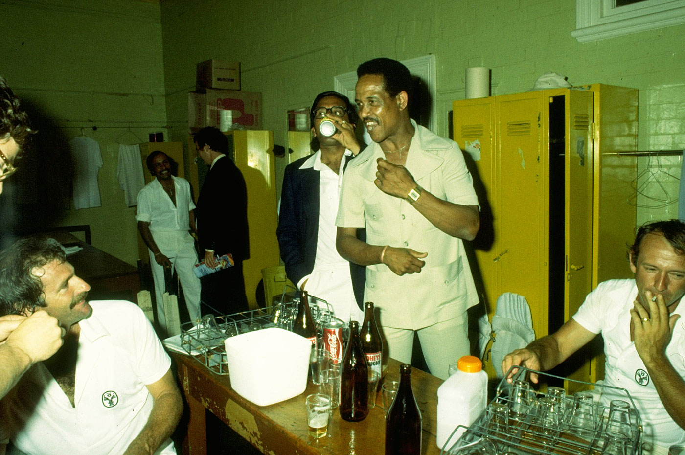Play hard, party harder: Sobers joins the Australians for drinks in the dressing room