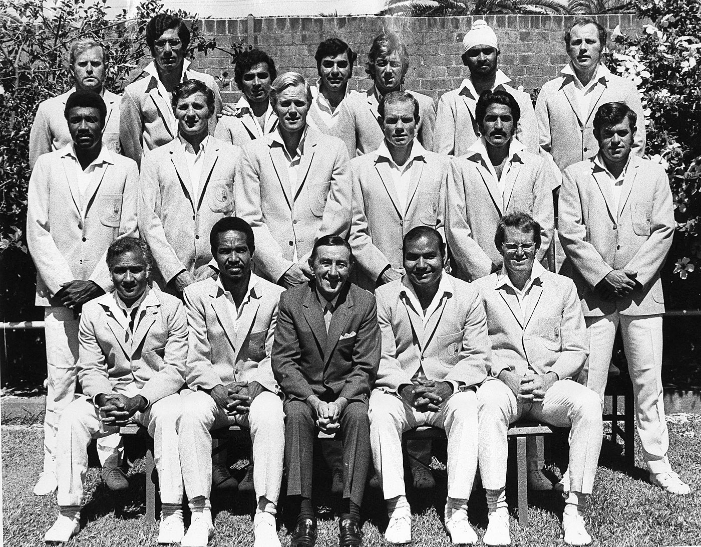 Some of Sobers' (sitting, second from left) greatest feats came for the World XI against the Australians in 1971-72