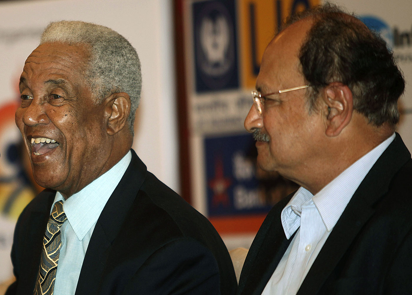 Sobers and Wadekar, nearly 40 years on from their disagreement over the toss in the Test that India won in 1971