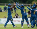 Farveez Maharoof is congratulated by his team-mates, Ireland v Sri Lanka, 2nd ODI, Malahide, June 18, 2016