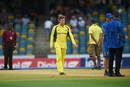 Steven Smith inspects the damp pitch, Australia v South Africa, 7th match, ODI tri-series, Barbados