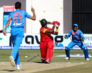 Hamilton Masakadza played all across a delivery from Barinder Sran, Zimbabwe v India, 2nd T20I, Harare, June 20, 2016