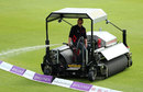 The groundstaff had some mopping up to do, England v Pakistan, 1st women's ODI, Grace Road, June 20, 2016