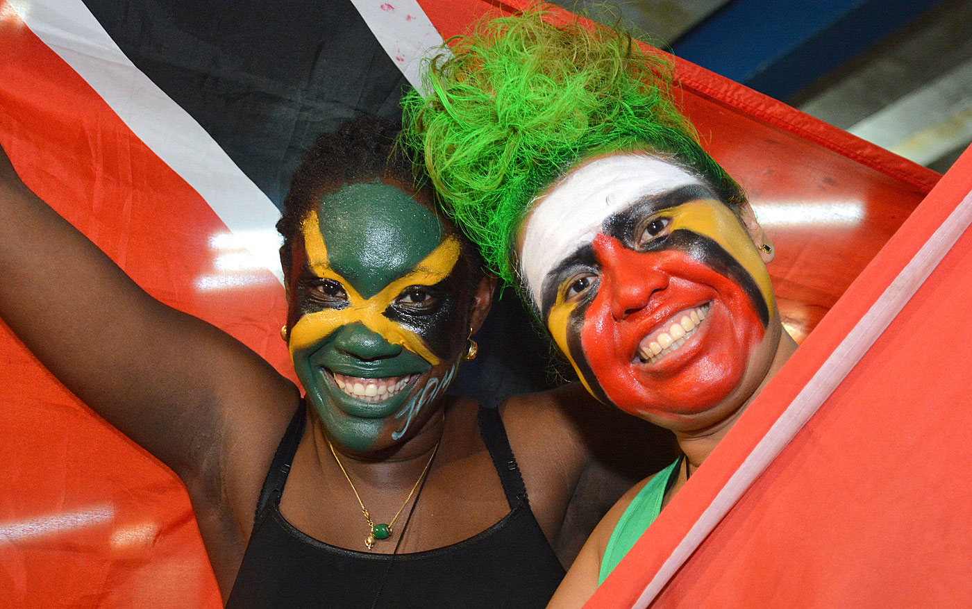 Fans of the Jamaica and Guyana teams at the final