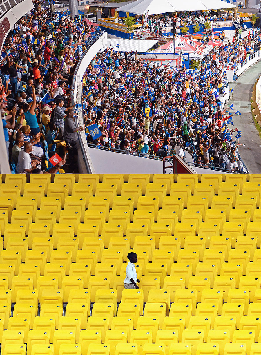 A tale of two formats: hardly an empty seat at the Kensington Oval (top) for a CPL game; hardly any takers for seats during a Test match at the Sir Vivian Richards Stadium in Antigua