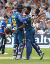 Seekkuge Prasanna is congratulated by Angelo Mathews for his blazing half-century, England v Sri Lanka, 1st ODI, Trent Bridge, June 21, 2016
