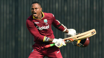 Marlon Samuels celebrates his 10th ODI century