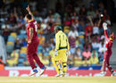 Shannon Gabriel celebrates his maiden ODI wicket, West Indies v Australia, 8th match, ODI tri-series, Barbados