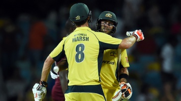 Mitchell Marsh and Glenn Maxwell celebrate Australia's win