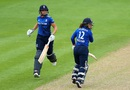 Tammy Beaumont and Lauren Winfield complete a run during their strong opening stand, England v Pakistan, 2nd Women's ODI, Worcester, June 22, 2016